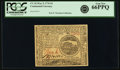 Colonial Notes:Continental Congress Issues, Continental Currency May 9, 1776 $4 PCGS Gem New 66PPQ.. ...