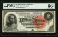 Large Size:Silver Certificates, Fr. 242 $2 1886 Silver Certificate PMG Gem Uncirculated 66 EPQ.....