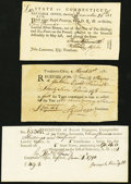 Colonial Notes:Connecticut, Connecticut and Massachusetts Paper Trio 1781-90.. ... (Total: 3notes)