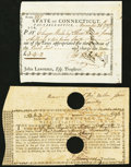 Colonial Notes:Connecticut, Connecticut Paper Two Items 1781-87.. ... (Total: 2 notes)