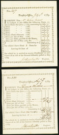 Colonial Notes:Connecticut, Connecticut Treasury Office Transfer Certificates 1789 £2107.0s.1d;£19.1s.9d Extremely Fine or Better.. ... (Total: 2 notes)