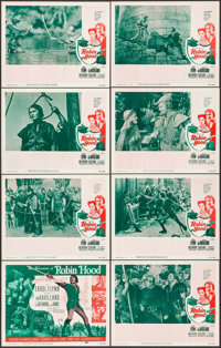 """The Adventures of Robin Hood (Dominant Pictures Corp., R-1956). Lobby Card Set of 8 (11"""" X 14""""). Swashbuckler..."""