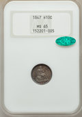 Seated Half Dimes, 1847 H10C MS65 NGC. CAC....