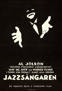 """The Jazz Singer (Warner Brothers, 1927). Full-Bleed Swedish One Sheet (26.75"""" X 38.75"""") William Auerbach-Levy..."""