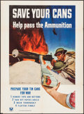 "Movie Posters:War, World War II Propaganda (U.S. Government Printing Office, 1943).Poster (24.75"" X 33.50"") ""Save Your Cans,"" McClelland Barcl..."