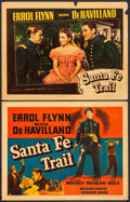 "Movie Posters:Western, Santa Fe Trail (Warner Brothers, 1940). Linen Finish Title Lobby Card & Linen Finish Lobby Card (11"" X 14""). Western.. ... (Total: 2 Items)"