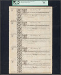 Colonial Notes:Maryland, Maryland 1733 10s-10s-10s-10s-10s Remainder Uncut Sheet of Five PCGS About New 53.. ...