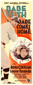"Movie Posters:Sports, Babe Comes Home (First National, 1927). Insert (14"" X 36"").. ..."