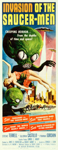 "Movie Posters:Science Fiction, Invasion of the Saucer-Men (American International, 1957). Insert(14"" X 36"") Albert Kallis Artwork.. ..."