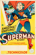 "Movie Posters:Animation, Superman Cartoon Stock (Paramount, 1941). One Sheet (27"" X 41"").. ..."