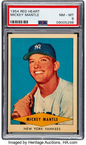 1954 Red Heart Mickey Mantle Psa Nm Mt 8 Baseball Cards