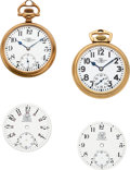 Timepieces:Pocket (post 1900), Ball (Hamilton) 23 Jewel 998 Elinvar, Ball (Waltham) 21 Jewel Official RR Standard & Two Rare B of LE 16 Size Dials. ... (Total: 4 Items)