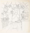 Animation Art:Production Drawing, Cinderella Gus and Jaq Dress-Making Illustration (Walt Disney, c. 1970s)....