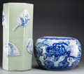 Asian:Chinese, A Chinese Blue and White Porcelain Water Cistern and LargeCeladon-Glazed Hat Stand, 20th century. 24 inches (61.0 cm). PR...(Total: 2 Items)