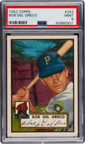 Baseball Cards:Singles (1950-1959), 1952 Topps Bob Del Greco #353 PSA Mint 9 - None Higher....