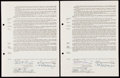 Autographs:Others, 1955 Hal Naragon Rookie-Era Contract Lot of 2 Signed by Greenberg& Harridge.. ...