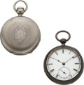 Timepieces:Pocket (pre 1900) , Waltham Pinned Plate P.S. Bartlett & Excelsior New York 57 Models. ... (Total: 2 Items)