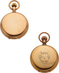 Timepieces:Pocket (pre 1900) , Two Gold Waltham Model 72 Amn. Grades For Restoration. ... (Total:2 Items)