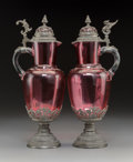 Decorative Arts, Continental:Other , A Pair of Cranberry Glass and German Silver Lidded Ewers, 19thcentury. 15-1/4 h x 4-3/4 inches dia... (Total: 2 Items)
