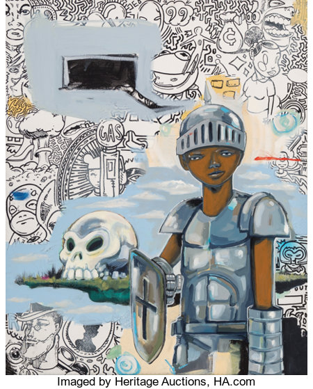 Hebru Brantley (American, b. 1981)Hollow Bones, 2014Oil on canvas30-1/4 x 24 inches (76.8 x 61.0 cm)Signed, date...