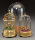 Decorative Arts, Continental:Other , Two German Automaton Bird Cages, 20th century. Marks to larger:(Karl Griesbaum Workshop cipher), Made in Germany, KEN-D ...(Total: 2 Items)