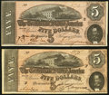 Confederate Notes, T69 $5 1864 PF-11 Cr. 565, Two Examples. . ... (Total: 2 notes)