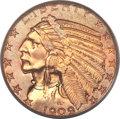 Indian Half Eagles, 1909-O $5 XF45 PCGS. Variety 1....