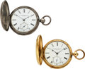Timepieces:Pocket (pre 1900) , J.R. Brown Sharpe Providence R.I. 14k Gold & Silver, Two EarlyLever Fusee Watches. ... (Total: 2 Items)