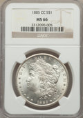 Morgan Dollars, 1885-CC $1 MS66 NGC. Frosty, glistening mint luster envelops this Premium Gem 1885-CC Morgan, cascading over each side in a...