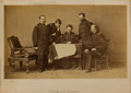 Military & Patriotic:Civil War, George Armstrong Custer: A Possibly Unique Mathew Brady Mammoth Albumen Photo of Sheridan with His Staff, Including Custer. ...