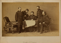 George Armstrong Custer: A Possibly Unique Mathew Brady Mammoth Albumen Photo of Sheridan with His Staff, Including Cust...