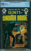 Bronze Age (1970-1979):Horror, Secrets of Sinister House #10 - CBCS CERTIFIED (DC, 1973) CGC NM 9.4 Off-white to white pages.