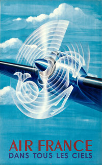 """Air France (1948). French Travel Poster (24.25"""" X 39.25"""") Atelier Perceval Artwork"""