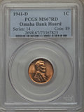 Lincoln Cents, 1941-D 1C MS67 Red PCGS. Ex: Omaha Bank Hoard. PCGS Population: (216/0). NGC Census: (921/0). CDN: $100 Whsle. Bid for prob...