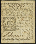 Colonial Notes:Connecticut, Connecticut October 11, 1777 7d Slash Cancel Extremely Fine.. ...