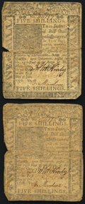 Colonial Notes:Delaware, Delaware January 1, 1776 5s. Two Examples. Very Good.. ... (Total:2 notes)