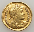 Ancients:Roman Imperial, Ancients: Valentinian I (AD 364-375). AV solidus (4.24 gm). Fine,clipped, graffito, flan flaw....