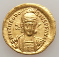 Ancients:Roman Imperial, Ancients: Theodosius II (AD 402-450). AV solidus (4.29 gm). AboutXF, clipped, graffito....