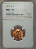 Lincoln Cents: , 1955-S 1C MS67 Red NGC. NGC Census: (2934/0). PCGS Population: (477/1). CDN: $100 Whsle. Bid for problem-free NGC/PCGS MS67...