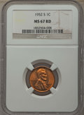 Lincoln Cents: , 1952-S 1C MS67 Red NGC. NGC Census: (403/0). PCGS Population: (182/0). CDN: $150 Whsle. Bid for problem-free NGC/PCGS MS67....