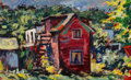 Paintings, Dan Lutz (American, 1906-1978). The Red House. Oil on Masonite. 12 x 20 inches (30.5 x 50.8 cm). Dated and titled with a...