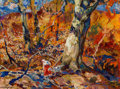 Fine Art - Painting, American, John E. Costigan (American, 1888-1972). October Fire, 1940.Oil on board. 9 x 12 inches (22.9 x 30.5 cm). Signed lower l...