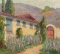 Fine Art - Painting, American, Virginia Woolley (American, 1884-1971). Adobe House, 1925.Oil on board. 16 x 18 inches (40.6 x 45.7 cm). Signed indisti...