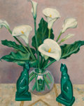 Paintings, Edith Catlin Phelps (American, 1875-1961). Calla Lilies with Two Ceramic Cats, 1939. Oil on board. 30 x 24 inches (76.2 ...
