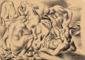 Fine Art - Work on Paper, Jan Matulka (American, 1890-1972). The Bathers, 1926. Crayonon paper. 15 x 20-3/4 inches (38.1 x 52.7 cm) (sheet). Sign...