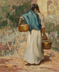 Paintings, Leslie William Lee (American, 1871-1951). Return from Market, 1920. Oil on canvas. 22 x 18-1/4 inches (55.9 x 46.4 cm). ...