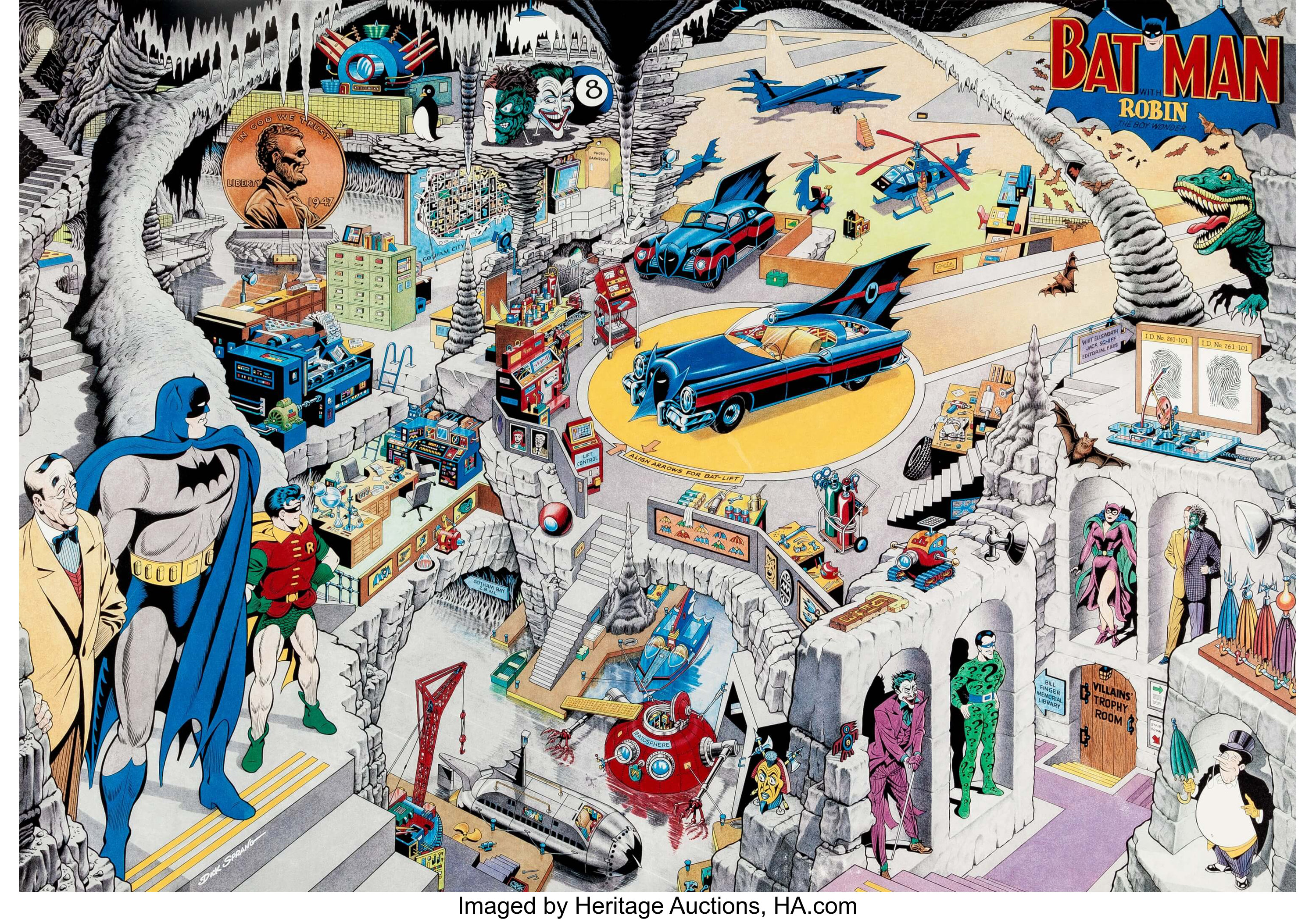 Dick Sprang The Secrets Of The Batcave Limited Silver Edition Print Lot 12768 Heritage Auctions