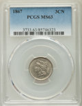 Three Cent Nickels: , 1867 3CN MS63 PCGS. PCGS Population: (204/279). NGC Census: (120/227). MS63. Mintage 3,915,000. ...