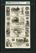 Obsoletes By State:Massachusetts, Westfield, MA- Westfield Bank $1-$2-$3-$5 18__ G2-G4-G6-G8 Uncut Proof Sheet. ...