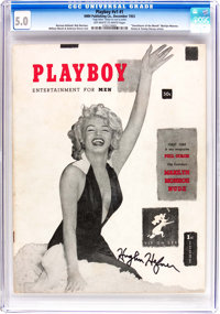 Playboy #1 Signed by Hugh Hefner (HMH Publishing, 1953) CGC VG/FN 5.0 Off-white to white pages